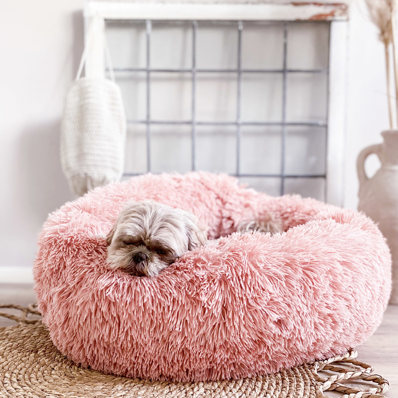 District 70 Fuzz Hundebett Donut rund old pink rosa
